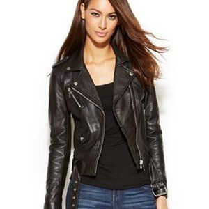 Michael Kors moto jacket in black leather